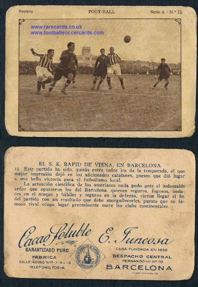 1923 Rapid Wien Vienna v Barca Juncosa trade card